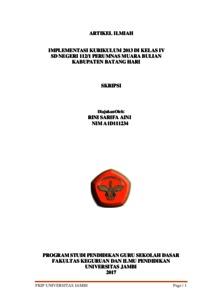 Implementasi Kurikulum 2013 Di Kelas Iv Sd Negeri 112 1 Perumnas Muara Bulian Kabupaten Batang Hari Repository Unja